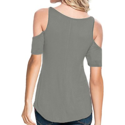 Women Cold Shoulder Lace Spliced T-shirtTees<br>Women Cold Shoulder Lace Spliced T-shirt<br><br>Fabric Type: Polyester, Spandex<br>Neckline: V-Neck<br>Package Content: 1 x Women T-shirt<br>Package size: 25.00 x 15.00 x 2.00 cm / 9.84 x 5.91 x 0.79 inches<br>Package weight: 0.202 kg<br>Product weight: 0.120 kg<br>Season: Summer<br>Size: L,M,S,XL<br>Sleeve Length: Short Sleeves