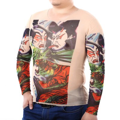 Men Long Sleeves Tattoo T-shirtMens Long Sleeves Tees<br>Men Long Sleeves Tattoo T-shirt<br><br>Material: Nylon, Spandex<br>Neckline: Round Neck<br>Package Content: 1 x Men Tattoo T-shirt<br>Package size: 25.00 x 15.00 x 2.00 cm / 9.84 x 5.91 x 0.79 inches<br>Package weight: 0.120 kg<br>Pattern Type: Characters, Animal<br>Product weight: 0.080 kg<br>Season: Summer, Spring, Autumn<br>Size: One Size<br>Sleeve Length: Long Sleeves<br>Style: Fashion