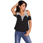 cheap Women Cold Shoulder Lace Spliced T-shirt