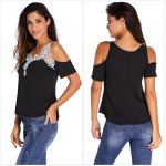 Women Cold Shoulder Lace Spliced T-shirt