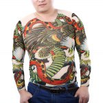 Men Eagle Snake Print Stretchy Tattoo T-shirt deal