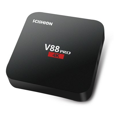 SCISHION V88 PRO TV Box Amlogic S905X Quad CoreTV Box &amp; Mini PC<br>SCISHION V88 PRO TV Box Amlogic S905X Quad Core<br><br>Brand: scishion<br>Model: V88 PRO<br>Type: TV Box<br>GPU: Mali-450<br>System: Android 6.0<br>CPU: Amlogic S905X<br>Core: 2.0GHz<br>RAM: 1G<br>ROM: 8G<br>Color: Black<br>Decoder Format: H.264,H.265,RealVideo8/9/10<br>Video format: 4K,AVI,DAT,H.264,H.265,ISO,MKV,MOV,MP4,MPEG,MPG,RM,VC-1,VP9,WMV<br>Audio format: AAC,FLAC,MP3,OGG,RM,WMA<br>Photo Format: JPEG,JPG,PNG<br>Power Supply: Charge Adapter<br>Interface: AV,DC Power Port,HDMI,RJ45,SD Card Slot,SPDIF,USB2.0<br>Language: Multi-language<br>System Bit: 32Bit<br>KODI Pre-installed: Yes<br>KODI Version: 16.1<br>Power Type: External Power Adapter Mode<br>Product weight: 0.143 kg<br>Package weight: 0.449 kg<br>Product size (L x W x H): 11.60 x 11.60 x 2.50 cm / 4.57 x 4.57 x 0.98 inches<br>Package size (L x W x H): 16.60 x 12.50 x 8.20 cm / 6.54 x 4.92 x 3.23 inches<br>Package Contents: 1 x SCISHION V88 PRO TV Box, 1 x Remote Control, 1 x HDMI Cable, 1 x Power Adapter, 1 x English Manual