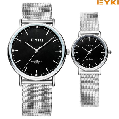 EYKI Casual 3ATM Waterproof Couple WatchesCouples Watches<br>EYKI Casual 3ATM Waterproof Couple Watches<br><br>Brand: Eyki<br>Watches categories: Couple tables<br>Watch style: Casual<br>Available Color: Black,Gold,White<br>Shape of the dial: Round<br>Movement type: Quartz watch<br>Display type: Analog<br>Case material: Alloy<br>Band material: Stainless Steel<br>Clasp type: Hook buckle<br>Water resistance : 30 meters<br>Special features: Date<br>Package weight: 0.1590 kg<br>Package size (L x W x H): 8.50 x 8.50 x 2.00 cm / 3.35 x 3.35 x 0.79 inches<br>Package Contents: 1 x EYKI Casual Quartz Couple Watches