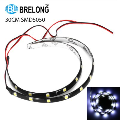 2pcs BRELONG 30cm 12 x SMD5050 2.5W 12V Waterproof Tape Light for Car Motorcycle