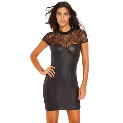High Waist Lace Spliced Mini DressBodycon Dresses<br>High Waist Lace Spliced Mini Dress<br><br>Material: Polyester, Spandex<br>Package Contents: 1 x Dress<br>Package size: 25.00 x 15.00 x 2.00 cm / 9.84 x 5.91 x 0.79 inches<br>Package weight: 0.190 kg<br>Product weight: 0.150 kg<br>Size: L,M,S