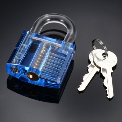 Acrylic Transparent Practice Padlock ToolLock Picks and Tools<br>Acrylic Transparent Practice Padlock Tool<br><br>Color: Blue,Green,Orange,Red,Transparent<br>Materials: Acrylic, Copper<br>Package Contents: 1 x Acrylic Transparent Padlock, 2 x Key<br>Package size (L x W x H): 9.50 x 6.50 x 3.30 cm / 3.74 x 2.56 x 1.3 inches<br>Package weight: 0.140 kg<br>Packing Type: Kits<br>Product size (L x W x H): 7.80 x 5.00 x 2.30 cm / 3.07 x 1.97 x 0.91 inches<br>Product weight: 0.087 kg<br>Special function: Studying How the Lock Works
