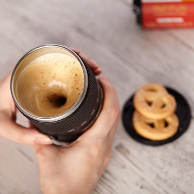 Lens Design Self Stirring Coffee MugOthers<br>Lens Design Self Stirring Coffee Mug<br><br>Color: Black<br>Material: ABS, Stainless Steel<br>Package Contents: 1 x Self Stirring Coffee Mug<br>Package size (L x W x H): 8.70 x 8.70 x 16.30 cm / 3.43 x 3.43 x 6.42 inches<br>Package weight: 0.320 kg<br>Product weight: 0.221 kg<br>Style: Creative<br>Suitable for: Bar, Camping, Home, Travelling, Party, KTV