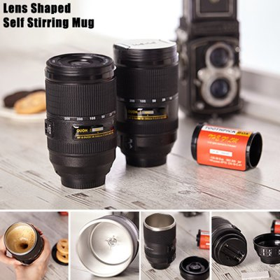 Lens Style Self Stirring Coffee Mug Stainless Steel Electric Mixing Cup