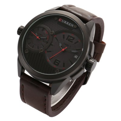 CURREN 8249 Business Men Quartz WatchMens Watches<br>CURREN 8249 Business Men Quartz Watch<br><br>Brand: Curren<br>Watches categories: Male table<br>Watch style: Business<br>Available color: Black,Red,White,Yellow<br>Movement type: Double-movtz<br>Shape of the dial: Round<br>Display type: Analog<br>Case material: Alloy<br>Band material: Leather<br>Clasp type: Pin buckle<br>Special features: Date<br>Water resistance : Life water resistant<br>Dial size: 4.2 x 4.2 x 1.5 cm / 1.65 x 1.65 x 0.59 inches<br>Band size: 24 x 2.4 cm / 9.45 x 0.94 inches<br>Product weight: 0.098 kg<br>Package weight: 0.160 kg<br>Product size (L x W x H): 24.00 x 4.20 x 1.50 cm / 9.45 x 1.65 x 0.59 inches<br>Package size (L x W x H): 8.50 x 8.50 x 2.00 cm / 3.35 x 3.35 x 0.79 inches<br>Package Contents: 1 x CURREN 8249 Business Men Quartz Watch, 1 x Box