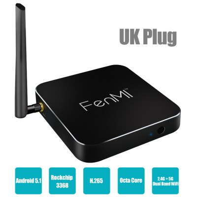 FenMI X1 Android TV Box Octa Core Rockchip 3368 Android 5.1 4K H.265 Decoding 2.4G + 5G Dual Band WiFi Bluetooth 4.0 2G