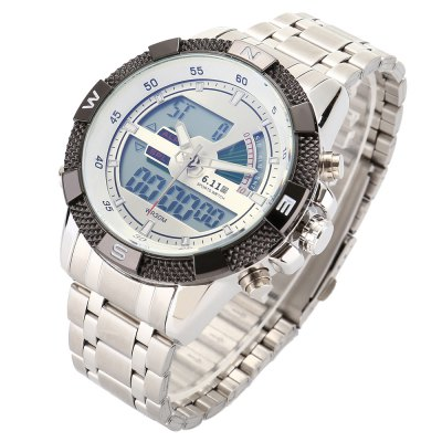 6.11 8156 Men Luminous Dial Sports Digital Quartz WatchLED Watches<br>6.11 8156 Men Luminous Dial Sports Digital Quartz Watch<br><br>Brand: 6.11<br>People: Male table<br>Watch style: Business<br>Watch color: Black, White, Black + Blue, White + Blue<br>Movement type: Quartz + digital watch<br>Shape of the dial: Round<br>Display type: Analog-Digital<br>Case material: Alloy<br>Band material: Stainless Steel<br>Clasp type: Folding clasp with safety<br>Special features: Date,Luminous,Stopwatch<br>Water resistance : 30 meters<br>Dial size: 3.8 x 3.8 x 1.5 cm / 1.5 x 1.5 x 0.59 inches<br>Band size: 24 x 2.2 cm / 9.45 x 0.87 inches<br>Product weight: 0.183 kg<br>Package weight: 0.245 kg<br>Product size (L x W x H): 24.00 x 3.80 x 1.50 cm / 9.45 x 1.5 x 0.59 inches<br>Package size (L x W x H): 8.50 x 8.50 x 2.00 cm / 3.35 x 3.35 x 0.79 inches<br>Package Contents: 1 x 6.11 8156 Men Sports Digital Quartz Watch, 1 x Box