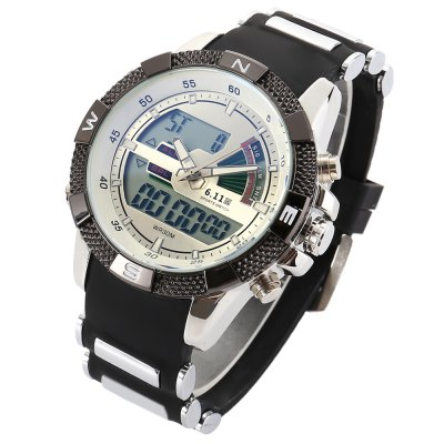 6.11 8156A Men Luminous Dial Sports Digital Quartz WatchLED Watches<br>6.11 8156A Men Luminous Dial Sports Digital Quartz Watch<br><br>Brand: 6.11<br>People: Male table<br>Watch style: Outdoor Sports<br>Watch color: Black, White, Black + Blue, White + Blue<br>Movement type: Quartz + digital watch<br>Shape of the dial: Round<br>Display type: Analog-Digital<br>Case material: Alloy<br>Band material: Silicone<br>Clasp type: Pin buckle<br>Special features: Date,Luminous<br>Water resistance : 30 meters<br>Dial size: 3.8 x 3.8 x 1.5 cm / 1.5 x 1.5 x 0.59 inches<br>Band size: 24 x 2.2 cm / 9.45 x 0.87 inches<br>Product weight: 0.135 kg<br>Package weight: 0.197 kg<br>Product size (L x W x H): 24.00 x 3.80 x 1.50 cm / 9.45 x 1.5 x 0.59 inches<br>Package size (L x W x H): 8.50 x 8.50 x 2.00 cm / 3.35 x 3.35 x 0.79 inches<br>Package Contents: 1 x 6.11 8156A Men Sports Digital Quartz Watch, 1 x Box