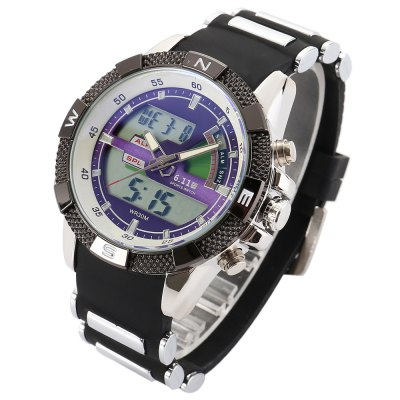 6.11 8156A Men Luminous Dial Sports Digital Quartz WatchLED Watches<br>6.11 8156A Men Luminous Dial Sports Digital Quartz Watch<br><br>Band material: Silicone<br>Band size: 24 x 2.2 cm / 9.45 x 0.87 inches<br>Brand: 6.11<br>Case material: Alloy<br>Clasp type: Pin buckle<br>Dial size: 3.8 x 3.8 x 1.5 cm / 1.5 x 1.5 x 0.59 inches<br>Display type: Analog-Digital<br>Movement type: Quartz + digital watch<br>Package Contents: 1 x 6.11 8156A Men Sports Digital Quartz Watch, 1 x Box<br>Package size (L x W x H): 8.50 x 8.50 x 2.00 cm / 3.35 x 3.35 x 0.79 inches<br>Package weight: 0.1970 kg<br>People: Male table<br>Product size (L x W x H): 24.00 x 3.80 x 1.50 cm / 9.45 x 1.5 x 0.59 inches<br>Product weight: 0.1350 kg<br>Shape of the dial: Round<br>Special features: Luminous, Date<br>Watch color: Black, White, Black + Blue, White + Blue<br>Watch style: Outdoor Sports<br>Water resistance : 30 meters
