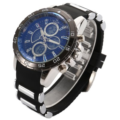 6.11 8157A Men Luminous Dial Sports Digital Quartz WatchLED Watches<br>6.11 8157A Men Luminous Dial Sports Digital Quartz Watch<br><br>Brand: 6.11<br>People: Male table<br>Watch style: Outdoor Sports<br>Available color: Black,Blue,Red,White<br>Movement type: Quartz + digital watch<br>Shape of the dial: Round<br>Display type: Analog-Digital<br>Case material: Alloy<br>Band material: Silicone<br>Clasp type: Pin buckle<br>Special features: Alarm Clock,Luminous<br>Water resistance : Life water resistant<br>Dial size: 3.8  x 3.8 x 1.5 cm / 1.5 x 1.5 x 0.59 inches<br>Band size: 24 x 2.2 cm / 9.45 x 0.87 inches<br>Product weight: 0.135 kg<br>Package weight: 0.197 kg<br>Product size (L x W x H): 24.00 x 3.80 x 1.50 cm / 9.45 x 1.5 x 0.59 inches<br>Package size (L x W x H): 8.50 x 8.50 x 2.00 cm / 3.35 x 3.35 x 0.79 inches<br>Package Contents: 1 x 6.11 8157A Men Sports Digital Quartz Watch, 1 x Box