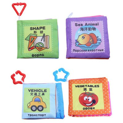 Baby Chinese English Russian Cloth Book Toy - 4pcs / set