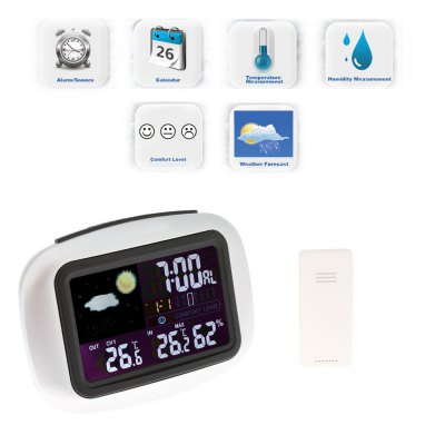 TS - 77 Wireless Weather Forecast Digital Alarm ClockOther Consumer Electronics<br>TS - 77 Wireless Weather Forecast Digital Alarm Clock<br><br>Feature: Backlight display, °C/°F display selection<br>Model: TS - 77<br>Package Contents: 1 x Outdoor Transmitter, 1 x Indoor Receiver, 1 x English User Manual<br>Package size (L x W x H): 14.50 x 7.00 x 10.50 cm / 5.71 x 2.76 x 4.13 inches<br>Package weight: 0.2270 kg<br>Product size (L x W x H): 13.00 x 6.00 x 9.50 cm / 5.12 x 2.36 x 3.74 inches<br>Product weight: 0.1370 kg<br>Type: Outdoor Thermometer, Indoor Thermometer