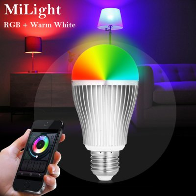 MiLight E27 WiFi Smart BulbSmart Lighting<br>MiLight E27 WiFi Smart Bulb<br><br>Available Light Color: RGB + Warm White,RGB + White<br>Body Color: Silver<br>Brand: MiLight<br>Emitter Types: SMD 5730<br>Features: WiFi, Remote Control, Long Life Expectancy, Energy Saving, Easy to use, APP Control<br>Function: Commercial Lighting, Home Lighting, Studio and Exhibition Lighting<br>Holder: E27<br>Luminous Flux: 220LM<br>Output Power: 9W<br>Package Contents: 1 x MiLight Smart Bulb<br>Package size (L x W x H): 13.50 x 7.00 x 7.00 cm / 5.31 x 2.76 x 2.76 inches<br>Package weight: 0.1750 kg<br>Product size (L x W x H): 12.50 x 6.00 x 6.00 cm / 4.92 x 2.36 x 2.36 inches<br>Product weight: 0.1200 kg<br>Sheathing Material: Aluminum Alloy<br>Voltage (V): AC 86 - 265V