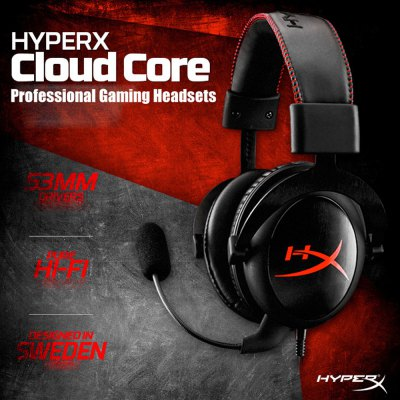 Kingston HYPERX Cloud Core KHX - HSCC - BK - FR HeadsetsGaming Headphones<br>Kingston HYPERX Cloud Core KHX - HSCC - BK - FR Headsets<br><br>Application: Portable Media Player, Mobile phone, Computer<br>Brand: Kingston<br>Cable Length (m): 1 m<br>Color: Black<br>Compatible with: Computer<br>Connectivity: Wired<br>Driver unit: 53mm<br>Frequency response: 15Hz~25KHz<br>Function: Noise Cancelling, Microphone, Answering Phone<br>Impedance: 60ohms±30 percent<br>Model: KHX - HSCC - BK - FR<br>Package Contents: 1 x Gaming Headsets, 1 x Microphone, 1 x 2.1m Extended Cable, 1 x English User Manual<br>Package size (L x W x H): 21.50 x 11.50 x 24.00 cm / 8.46 x 4.53 x 9.45 inches<br>Package weight: 0.7320 kg<br>Plug Type: 3.5mm<br>Product size (L x W x H): 14.50 x 9.50 x 19.00 cm / 5.71 x 3.74 x 7.48 inches<br>Product weight: 0.3050 kg<br>Sensitivity: 98dB ± 3dB<br>Wearing type: Headband