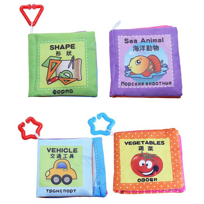 Baby Chinese English Russian Cloth Book Toy - 4pcs - set