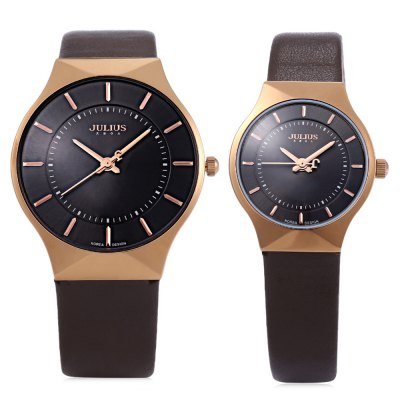 Julius JA - 577 Quartz Watch Round Dial Leather Watchband for LoverCouples Watches<br>Julius JA - 577 Quartz Watch Round Dial Leather Watchband for Lover<br><br>Brand: Julius<br>Watches categories: Couple tables<br>Watch style: Ultrathin<br>Style elements: Stainless Steel<br>Available color: Black,Brown<br>Shape of the dial: Round<br>Movement type: Quartz watch<br>Display type: Analog<br>Case material: Stainless Steel<br>Band material: Leather<br>Clasp type: Pin buckle<br>Package weight: 0.171 kg<br>Package size (L x W x H): 8.50 x 8.50 x 7.00 cm / 3.35 x 3.35 x 2.76 inches<br>The male dial dimension (L x W x H): 3.7 x 3.7 x 0.5 cm / 1.5 x 1.5 x 0.2 inches<br>The male watch band dimension (L x W): 24.7 x 1.8 cm / 9.7 x 0.7 inches<br>The male watch weight: 0.034 kg<br>The male watch size (L x W x H): 24.7 x 3.7 x 0.5 cm / 9.7 x 1.5 x 0.2 inches<br>The female dial dimension (L x W x H): 2.5 x 2.5 x 0.5 cm / 1.0 x 1.0 x 0.2 inches<br>The female watch band dimension (L x W): 21.5 x 1.1 cm / 8.5 x 0.4 inches<br>The female watch weight: 0.018 kg<br>The female size (L x W x H): 21.5 x 2.5 x 0.5 cm / 8.5 x 1.0 x 0.2 inches<br>Package Contents: 2 x Watches