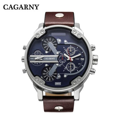Cagarny 6820 Male Quartz WatchMens Watches<br>Cagarny 6820 Male Quartz Watch<br><br>Brand: Cagarny<br>Watches categories: Male table<br>Watch style: Fashion<br>Style elements: Big dial<br>Watch color: Brown and Silver, Black, Brown, Black and Silver<br>Movement type: Quartz watch<br>Shape of the dial: Round<br>Display type: Analog<br>Case material: Stainless Steel<br>Band material: Leather<br>Clasp type: Pin buckle<br>Special features: Date,Decorating small sub-dials<br>The dial thickness: 1.2 cm / 0.47 inches<br>The dial diameter: 5.0 cm / 1.97 inches<br>The band width: 2.2 cm / 0.86 inches<br>Wearable length: 18 - 23 cm / 7.09 - 9.06 inches<br>Product weight: 0.0880 kg<br>Package weight: 0.1380 kg<br>Product size (L x W x H): 27.00 x 5.00 x 1.20 cm / 10.63 x 1.97 x 0.47 inches<br>Package size (L x W x H): 28.00 x 6.00 x 2.20 cm / 11.02 x 2.36 x 0.87 inches<br>Package Contents: 1 x Cagarny 6820 Watch