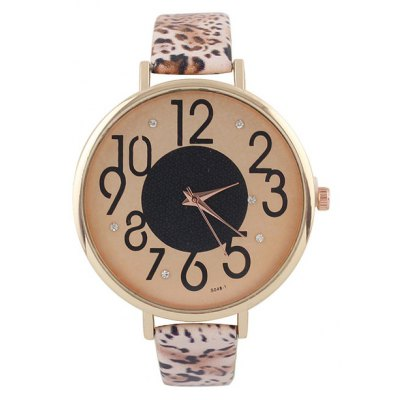 Faux Leather Leopard Print Rhinestone Watch