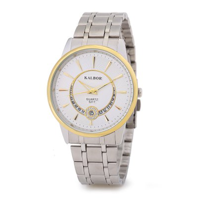 KALBOR 5217 Business Rhinestone Ring Dial Men Quartz Watch