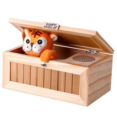 Plush Tiger Style Wooden Box with Sound