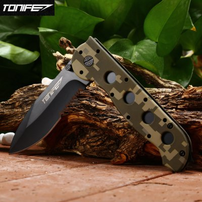 Tonife CKT6033 Foldable KnifePocket Knives and Folding Knives<br>Tonife CKT6033 Foldable Knife<br><br>Blade Length: 8.6cm<br>Blade Length Range: 5cm-10cm<br>Blade Material: 3CR13Mov stainless steel<br>Blade Width : 3cm<br>Brand: Tonife<br>Clip Length: 7cm<br>Color: Camouflage<br>Handle Material: ABS<br>Lock Type: Liner Lock<br>Package Contents: 1 x Tonife CKT6033 Foldable Knife<br>Package size (L x W x H): 12.00 x 4.00 x 2.00 cm / 4.72 x 1.57 x 0.79 inches<br>Package weight: 0.155 kg<br>Product size (L x W x H): 20.50 x 3.00 x 1.80 cm / 8.07 x 1.18 x 0.71 inches<br>Product weight: 0.115 kg<br>Unfold Length: 20.5cm