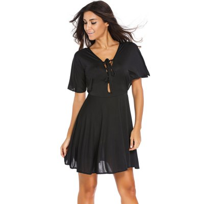V-neck Lace-up Front Flounced Mini DressMini Dresses<br>V-neck Lace-up Front Flounced Mini Dress<br><br>Material: Polyester<br>Package Contents: 1 x Dress<br>Package size: 30.00 x 24.00 x 3.00 cm / 11.81 x 9.45 x 1.18 inches<br>Package weight: 0.310 kg<br>Product weight: 0.270 kg<br>Size: L,M,S