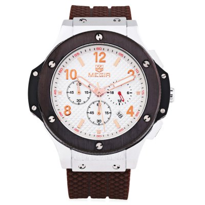 MEGIR 3002G Date Function Male Quartz WatchMens Watches<br>MEGIR 3002G Date Function Male Quartz Watch<br><br>Brand: MEGIR<br>Watches categories: Male table<br>Watch style: Business<br>Available Color: Black,Gold,White<br>Movement type: Quartz watch<br>Shape of the dial: Round<br>Display type: Analog<br>Hour formats: 24 Hour<br>Case material: Alloy<br>Band material: Silicone<br>Clasp type: Folding clasp with safety<br>Special features: Date,Moving small three stitches,Stopwatch<br>Water resistance : 30 meters<br>The dial thickness: 1.7 cm / 0.67 inches<br>The dial diameter: 3.5 cm / 1.38 inches<br>The band width: 2.1cm<br>Wearable length: 25cm<br>Product weight: 0.150 kg<br>Package weight: 0.200 kg<br>Product size (L x W x H): 25.00 x 4.80 x 1.70 cm / 9.84 x 1.89 x 0.67 inches<br>Package size (L x W x H): 26.00 x 6.00 x 3.00 cm / 10.24 x 2.36 x 1.18 inches<br>Package Contents: 1 x MEGIR 3002 Watch
