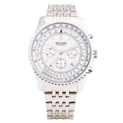 MEGIR 2009 Male Quartz WatchMens Watches<br>MEGIR 2009 Male Quartz Watch<br><br>Brand: MEGIR<br>Watches categories: Male table<br>Watch style: Business<br>Movement type: Quartz watch<br>Shape of the dial: Round<br>Display type: Analog<br>Hour formats: 24 Hour<br>Case material: Alloy<br>Band material: Stainless Steel<br>Clasp type: Sheet folding clasp<br>Special features: Date,Moving small three stitches<br>Water resistance : 30 meters<br>The dial thickness: 1.2 cm / 0.47 inches<br>The dial diameter: 4.6 cm / 1.81 inches<br>The band width: 2.1 cm / 0.83 inches<br>Wearable length: 27cm<br>Product weight: 0.077 kg<br>Package weight: 0.127 kg<br>Product size (L x W x H): 27.00 x 4.56 x 1.20 cm / 10.63 x 1.8 x 0.47 inches<br>Package size (L x W x H): 28.00 x 6.00 x 2.00 cm / 11.02 x 2.36 x 0.79 inches<br>Package Contents: 1 x MEGIR 2009 Watch