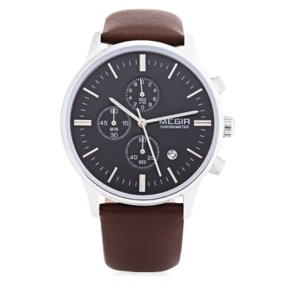 MEGIR 2011 Male Quartz WatchMens Watches<br>MEGIR 2011 Male Quartz Watch<br><br>Brand: MEGIR<br>Watches categories: Male table<br>Watch style: Business<br>Movement type: Quartz watch<br>Shape of the dial: Round<br>Display type: Analog<br>Case material: Alloy<br>Band material: Leather<br>Clasp type: Pin buckle<br>Special features: Date,Moving small three stitches<br>Water resistance : 30 meters<br>The dial thickness: 1.0 cm / 0.39 inches<br>The dial diameter: 3.9 cm / 1.53 inches<br>The band width: 2.0 cm / 0.79 inches<br>Product weight: 0.060 kg<br>Package weight: 0.162 kg<br>Product size (L x W x H): 25.00 x 3.90 x 1.00 cm / 9.84 x 1.54 x 0.39 inches<br>Package size (L x W x H): 26.00 x 5.00 x 2.00 cm / 10.24 x 1.97 x 0.79 inches<br>Package Contents: 1 x MEGIR 2011 Male Quartz Watch