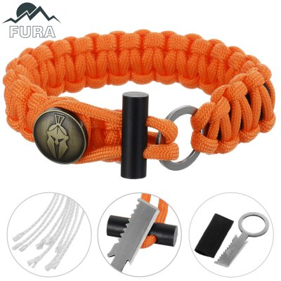 FURA 3 in 1 Survival Paracord Bracket / Flintstone / Mini KnifeSurvival Bracelet<br>FURA 3 in 1 Survival Paracord Bracket / Flintstone / Mini Knife<br><br>Bracelet Length: 27cm<br>Bracelet Width: 2cm<br>Color: Blue,Brown,Desert Camouflage,Orange<br>Extra Functions: Fire Starter<br>Material: Parachute Cord<br>Package Contents: 1 x FURA Bracket<br>Package Dimension: 11.00 x 9.50 x 1.90 cm / 4.33 x 3.74 x 0.75 inches<br>Package weight: 0.070 kg<br>Product Dimension: 27.00 x 2.00 x 0.80 cm / 10.63 x 0.79 x 0.31 inches<br>Product weight: 0.030 kg