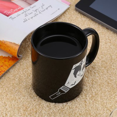 Bat Pattern Heat Sensitive Color Changing MugWater Cup &amp; Bottle<br>Bat Pattern Heat Sensitive Color Changing Mug<br><br>Color: Black<br>Material: Ceramics<br>Package Contents: 1 x Flashlight Color Changing Mug<br>Package size (L x W x H): 11.50 x 8.50 x 13.40 cm / 4.53 x 3.35 x 5.28 inches<br>Package weight: 0.414 kg<br>Product weight: 0.332 kg<br>Style: Creative<br>Suitable for: Bar, Home, Travelling, Party, KTV, Camping<br>Type: Water, Milk, Fruit Juice, Coffee, Beer, Tea