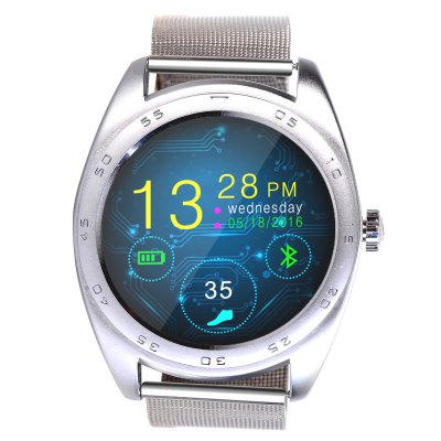 CACGO K89 Bluetooth 4.0 Heart Rate Monitor Smart WatchSmart Watches<br>CACGO K89 Bluetooth 4.0 Heart Rate Monitor Smart Watch<br><br>Built-in chip type: MTK2502<br>Bluetooth version: Bluetooth 4.0<br>RAM: 128MB<br>ROM: 64MB<br>Bluetooth calling: Answering,Call log sync,Phone call reminder,Phonebook<br>Messaging: Message reminder<br>Health tracker: Heart rate monitor,Pedometer,Sedentary reminder,Sleep monitor<br>Remote control function: Remote Camera,Remote music<br>Notification: Yes<br>Notification type: Facebook,Twitter,WhatsApp<br>Find phone: Yes<br>Groups of alarm: 5<br>Alert type: Ring,Vibration<br>Locking screen : 5<br>Other Function: Alarm,Calculator,Calender,Voice recorder<br>Screen: IPS<br>Screen resolution: 240 x 240<br>Screen size: 1.2 inch<br>Operating mode: Press button,Touch Screen<br>Type of battery: Polymer Battery<br>Battery Capacty: 300mAh<br>Charging time: About 2hours<br>Standby time: About 4 - 5 Days<br>People: Female table,Male table<br>Shape of the dial: Round<br>Case material: Stainless Steel<br>Band material: Stainless Steel<br>Compatible OS: Android,IOS<br>Compatability: Android 4.3 / iOS 7.0 and Above Systems<br>Language: Dutch,English,French,German,Italian,Polish,Portuguese,Russian,Spanish,Turkish<br>Available color: Black,Gold,Silver<br>Dial size: 4.3 x 4.3 x 1.3 cm / 1.69 x 1.69 x 0.51 inches<br>Band size: 25 x 2.2 cm / 9.84 x 0.87 inches<br>Product size (L x W x H): 25.00 x 4.30 x 1.30 cm / 9.84 x 1.69 x 0.51 inches<br>Package size (L x W x H): 19.30 x 6.50 x 5.00 cm / 7.6 x 2.56 x 1.97 inches<br>Product weight: 0.078 kg<br>Package weight: 0.230 kg<br>Package Contents: 1 x CACGO K89 Smart Watch, 1 x Charging Cable, 1 x English User Manual