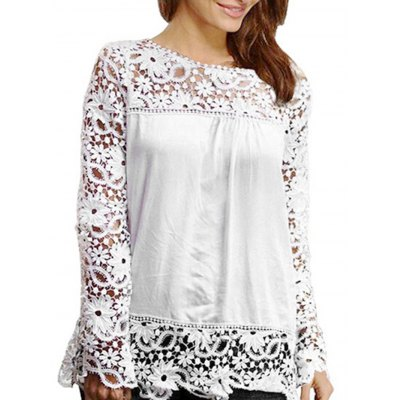Female Elegant R-Neck L-Sleeve Hollow Out Lace Chiffon Blouse
