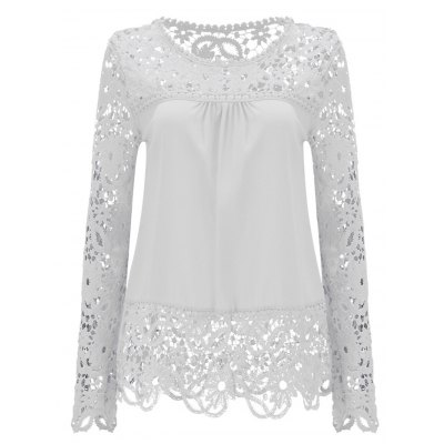 Female Elegant R-Neck L-Sleeve Hollow Out Lace Chiffon BlouseBlouses<br>Female Elegant R-Neck L-Sleeve Hollow Out Lace Chiffon Blouse<br><br>Color: Deep Blue,White<br>Material: Chiffon, Spandex<br>Neckline: Round Neck<br>Package Content: 1 x Summer Women Chiffon Blouse<br>Package size: 25.00 x 15.00 x 2.00 cm / 9.84 x 5.91 x 0.79 inches<br>Package weight: 0.190 kg<br>Pattern Type: Solid<br>Product weight: 0.150 kg<br>Season: Summer<br>Size: L,M,S,XL<br>Sleeve Length: Sleeveles<br>Style: Fashion