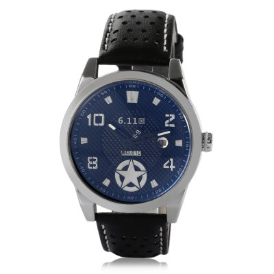 6.11 010B Fashion Men Quartz WatchMens Watches<br>6.11 010B Fashion Men Quartz Watch<br><br>Band material: Genuine Leather<br>Band size: 25.8 x 2.2 cm<br>Case material: Stainless Steel<br>Clasp type: Pin buckle<br>Dial size: 4.3 x 4.3 x 1.3<br>Display type: Analog<br>Movement type: Quartz watch<br>Package Contents: 1 x 6.11 010B Sports Style Men Quartz Watch, 1 x Box<br>Package size (L x W x H): 10.50 x 7.00 x 7.00 cm / 4.13 x 2.76 x 2.76 inches<br>Package weight: 0.225 kg<br>Product size (L x W x H): 25.80 x 4.30 x 1.30 cm / 10.16 x 1.69 x 0.51 inches<br>Product weight: 0.073 kg<br>Shape of the dial: Round<br>Special features: Date<br>Watch color: Black, Silver, Red, Blue, Off-white<br>Watch style: Fashion<br>Watches categories: Male table<br>Water resistance : Life water resistant<br>Wearable length: 19.4 - 23.4 cm