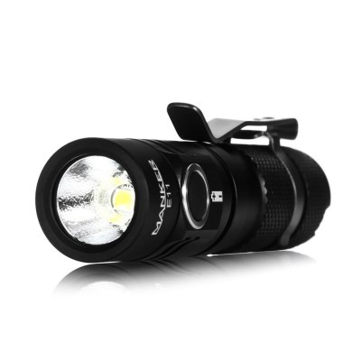 Manker E11 Mini LED FlashlightLED Flashlights<br>Manker E11 Mini LED Flashlight<br><br>Brand: Manker<br>Model: E11<br>Lamp Beads: Cree XP-L<br>Beads Number: 1<br>Lumens Range: 500-1000Lumens<br>Luminous Flux: 800 (14500) / 400Lm (AA)<br>Color Temperature: 6500K (1A) / 5000K (3D)<br>Switch Type: Clicky<br>Switch Location: Side Switch<br>Feature: Cooling Slot of High Efficiency,Lanyard,Lightweight,Pocket Clip<br>Function: Camping,EDC,Hiking,Household Use,Night Riding,Walking<br>Battery Type: 14500,AA<br>Battery Quantity: 1 x AA / 14500 battery (not included)<br>Mode: 4Mode (High &gt; Middle &gt; Low &gt; Lower)<br>Mode Memory: Yes<br>Waterproof Standard: IPX-8 Standard Waterproof<br>Power Source: Battery<br>Working Voltage: 1.2V / 3.7V<br>Reflector: Aluminum Textured Orange Peel Reflector<br>Lens: Glass Lens<br>Beam Distance: 50-100m<br>Body Material: Aluminium Alloy<br>Available color: Black<br>Max.: 1.2h<br>Product weight: 0.036 kg<br>Package weight: 0.110 kg<br>Product size (L x W x H): 8.50 x 2.00 x 2.00 cm / 3.35 x 0.79 x 0.79 inches<br>Package size (L x W x H): 13.00 x 7.00 x 3.50 cm / 5.12 x 2.76 x 1.38 inches<br>Package Contents: 1 x Manker E11 LED Flashlight, 1 x Clip, 1 x O-ring, 1 x Lanyard, 1 x English Manual