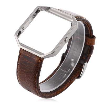 Crazy Horse Leather Strap with Silver Case for Fitbit Blaze Smart Watch