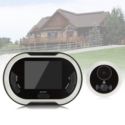 Doorbell Peephole Viewer Home SecurityAccess Control<br>Doorbell Peephole Viewer Home Security<br><br>Environment: Indoor<br>Exterior Material: Metal<br>Image Adjustment: Brightness,Contrast<br>IP camera performance: Night Vision<br>Package Contents: 1 x Peephole Viewer, 1 x Peephole Lens, 1 x Peephole Barrel, 1 x Based Flange, 1 x English User Manual<br>Package size (L x W x H): 18.00 x 6.00 x 6.00 cm / 7.09 x 2.36 x 2.36 inches<br>Package weight: 0.3630 kg<br>Pixels: 0.3MP<br>Power Requirement: 3 AA batteries<br>Product size (L x W x H): 16.00 x 5.00 x 4.00 cm / 6.3 x 1.97 x 1.57 inches<br>Product weight: 0.1020 kg<br>Shape: Mini Camera<br>Technical Feature: Other