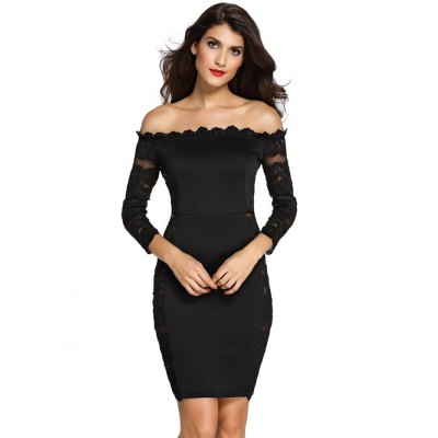 Black Off The Shoulder Lace Spliced Dress
