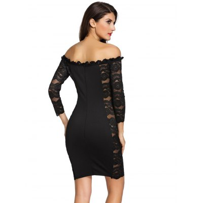 Black Off The Shoulder Lace Spliced DressLong Sleeve Dresses<br>Black Off The Shoulder Lace Spliced Dress<br><br>Material: Polyester<br>Package Contents: 1 x Dress<br>Package size: 30.00 x 24.00 x 3.00 cm / 11.81 x 9.45 x 1.18 inches<br>Package weight: 0.280 kg<br>Product weight: 0.240 kg<br>Size: L,M,S