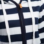 Women Long Sleeve Striped Zippered Hoodie for sale