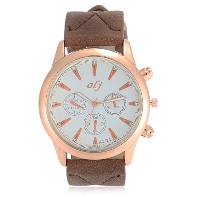 OLJ A2723 Casual Decorative Sub-dial Men Quartz WatchMens Watches<br>OLJ A2723 Casual Decorative Sub-dial Men Quartz Watch<br><br>Band material: Leather<br>Band size: 26 x 2.5 cm / 10.24 x 0.98 inches<br>Brand: OLJ<br>Case material: Alloy<br>Clasp type: Pin buckle<br>Dial size: 4.5 x 4.5 x 1.2 cm / 1.77 x 1.77 x 0.47 inches<br>Display type: Analog<br>Movement type: Quartz watch<br>Package Contents: 1 x OLJ A2723 Casual Men Quartz Watch<br>Package size (L x W x H): 27.00 x 5.50 x 2.20 cm / 10.63 x 2.17 x 0.87 inches<br>Package weight: 0.086 kg<br>Product size (L x W x H): 26.00 x 4.50 x 1.20 cm / 10.24 x 1.77 x 0.47 inches<br>Product weight: 0.053 kg<br>Shape of the dial: Round<br>Watch color: Blue, Brown, Blackish Green<br>Watch style: Casual<br>Watches categories: Male table<br>Wearable length: 19.5 - 23 cm / 7.68 - 9.06 inches