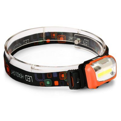 UltraFire LED HeadlightHeadlights<br>UltraFire LED Headlight<br><br>Headlight Brand: Ultrafire<br>Main Emitters: COB<br>Emitters Quantity: 1<br>Luminous Flux: 4<br>Feature: Angle adjustment,Can be used as headlamp or bicycle light<br>Function: Camping,EDC,Hiking,Household Use,Night Riding,Walking<br>Switch Type: Clicky<br>Mode: 3 (High; Low, Flash)<br>Battery Type: 3 x AAA battery(not included)<br>Waterproof: IP44 Waterproof Standard<br>Power Source: Battery<br>Beam Distance: 50-100m<br>Body Material: ABS<br>Available Light Color: White<br>Color: Black,Blue,Orange<br>Product weight: 0.051 kg<br>Package weight: 0.082 kg<br>Product size (L x W x H): 6.00 x 4.00 x 3.00 cm / 2.36 x 1.57 x 1.18 inches<br>Package size (L x W x H): 9.00 x 5.50 x 5.50 cm / 3.54 x 2.17 x 2.17 inches<br>Package Contents: 1 x UltraFire LED Headlamp