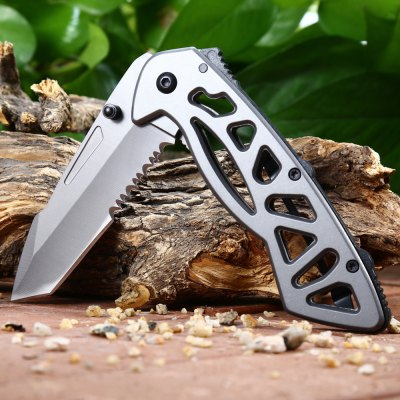 Frame Lock Foldable Knife with Half Serrated Blade