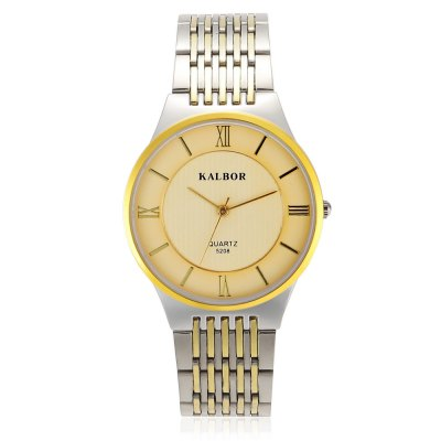 KALBOR 5208 Business Men Ultra-thin Dial Quartz WatchMens Watches<br>KALBOR 5208 Business Men Ultra-thin Dial Quartz Watch<br><br>Band material: Stainless Steel<br>Band size: 20 x 2 cm / 7.87 x 0.87 inches<br>Case material: Stainless Steel<br>Clasp type: Folding clasp with safety<br>Dial size: 3.8 x 3.8 x 0.7 cm / 1.5 x 1.5 x 0.28 inches<br>Display type: Analog<br>Movement type: Quartz watch<br>Package Contents: 1 x KALBOR 5208 Business Men Quartz Watch<br>Package size (L x W x H): 13.00 x 5.00 x 2.00 cm / 5.12 x 1.97 x 0.79 inches<br>Package weight: 0.113 kg<br>Product size (L x W x H): 20.00 x 3.80 x 0.70 cm / 7.87 x 1.5 x 0.28 inches<br>Product weight: 0.078 kg<br>Shape of the dial: Round<br>Watch color: Black +Silver, Blue + Silver, White + Gold, White + Silver, Gold<br>Watch style: Business<br>Watches categories: Male table<br>Water resistance : Life water resistant