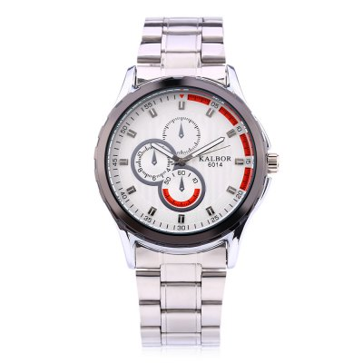 KALBOR 6014 Business Decorative Sub-dial Men Quartz WatchMens Watches<br>KALBOR 6014 Business Decorative Sub-dial Men Quartz Watch<br><br>Band material: Stainless Steel<br>Band size: 22 x 2 cm / 8.66 x 0.79 inches<br>Case material: Stainless Steel<br>Clasp type: Folding clasp with safety<br>Dial size: 4 x 4 x 1 cm / 1.57 x 1.57 x 0.39 inches<br>Display type: Analog<br>Movement type: Quartz watch<br>Package Contents: 1 x KALBOR 6014 Business Men Quartz Watch<br>Package size (L x W x H): 14.00 x 5.00 x 2.00 cm / 5.51 x 1.97 x 0.79 inches<br>Package weight: 0.1350 kg<br>Product size (L x W x H): 22.00 x 4.00 x 1.00 cm / 8.66 x 1.57 x 0.39 inches<br>Product weight: 0.1000 kg<br>Shape of the dial: Round<br>Watch color: Black + Gold, Black + Silver, White + Gold, White + Silver<br>Watch style: Business<br>Watches categories: Male table<br>Water resistance : Life water resistant